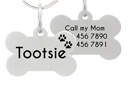 Double Sided Laser Etched Stainless Steel Pet Id Tag For