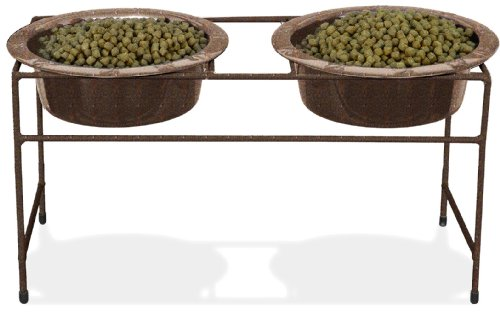 Platinum Pets Double Diner Feeder With Stainless Steel Dog