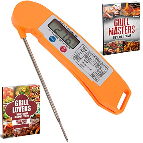 grill lovers digital instant read cooking thermometer with long probe small orange pets. Black Bedroom Furniture Sets. Home Design Ideas