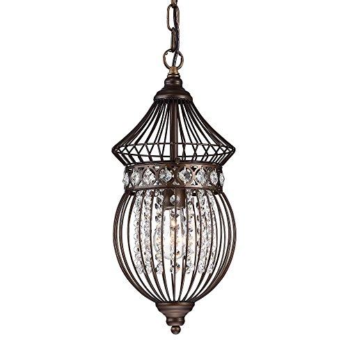 Bird Chandelier Lighting: Crystal Bird Cage Chandelier Lighting Bronze Iron