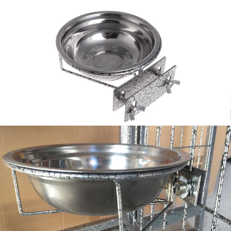 Stainless Steel Hanging Bowl Bird Seed Food Feeding Dish