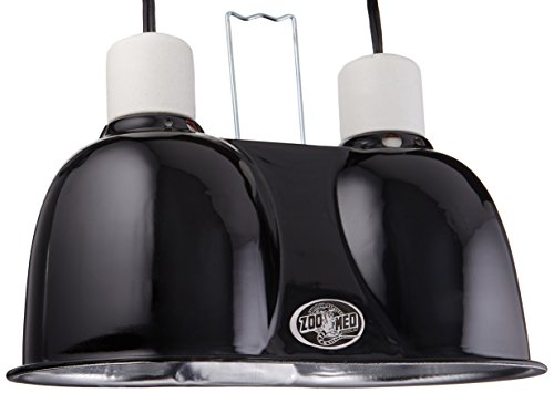 Zoo Med Labs Mini Combo Deep Dome Dual Lamp Fixture Black