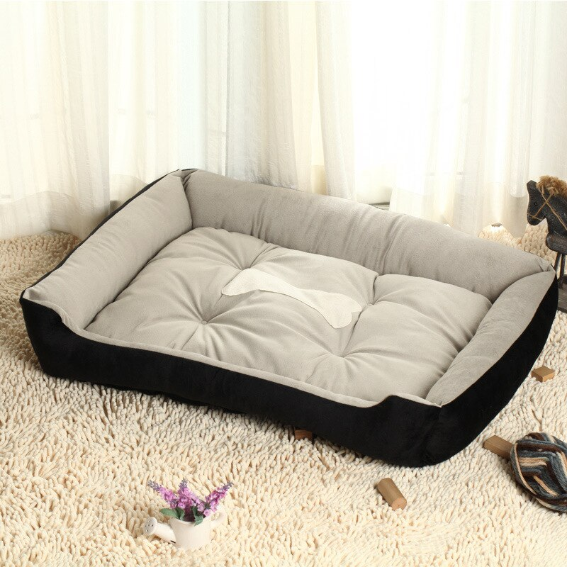 Bone Print Soft Warm Dog Bed Small Large Breed Dog Bed Sofa Mat House Cot Pet Bed House For Medium Large Dogs Pet Supplies